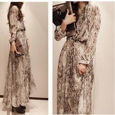 Summer Womens Boho Chiffon Snake Print Long Sleeve Dress Sleeveless Beach Maxi