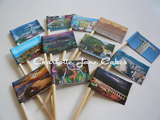 12 CUPCAKE FLAGS/TOPPERS - FAMOUS CITIES AROUND THE WORLD