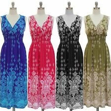 NWT JON & ANNA Paisley Print V-Neck Smocked Long Maxi Summer Dress S,M,L,XL