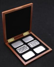Cherry Wood Display Case for 6 1oz Silver Bars in Airtite Capsule Holders, Black