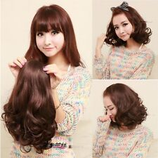 new fashion girl's half wig curly wave short hair 3/4 wig clips in brown/black