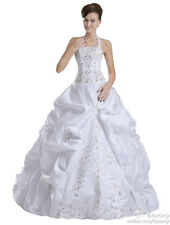 Faironly Halter-Neck Wedding Dresses Bridal Gown in Stock Size 6,8,10,12,14,16