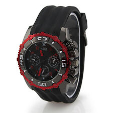 Bariho H039 Round Dial Men's Watch with Calendar and Week Display Black Silicone