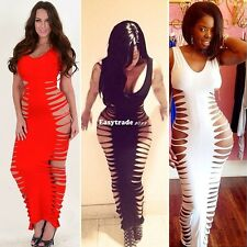Lady FishBone Laser Cut Out Sleeveless Maxi Bodycon Long Bandage Dress S-L ESY1