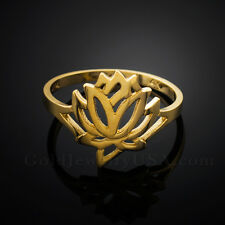 Dainty Solid Gold Lotus Ring (yellow, white, rose-gold)