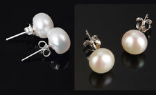 5-6 mm Sterling Silver Freshwater White Pink Shell Pearl Stud Earrings Box A16