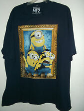 NEW DISPICABLE ME 2 T SHIRT 3xl, 4xl or 5xl  3 MINION PORTRAIT dark navy