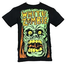 White Zombie Mens T-Shirt -  Screaming Mad Green Zombie Face Image  Black