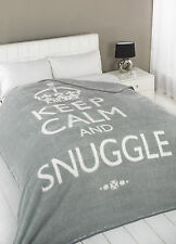 Mink Faux Fur Throw Fleece Blanket - Throws Keep Calm Multiple Sizes Silver