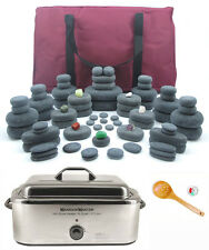 MassageMaster HOT STONE MASSAGE KIT: 78 Basalt Stones + 18 Quart Stone Heater