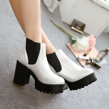 Fashion gothic Womens chunky Heel platform round toes Ankle elastic boots shoes