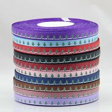 "5/10/20/50 yds 3/8"" 9 mm printed Christmas tree & lot dots Grosgrain Ribbon"