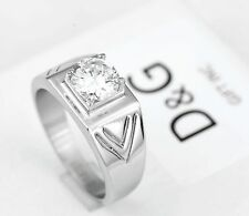 D&G Men's Silver.Stainless Steel,CZ Halo Silver Shiny Ring Size 8,9 10 11,12,New