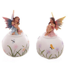 Round FLOWER FAIRY MONEY BOX Coin Bank Loose Change Saver PINK BLUE
