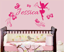 Personalised Name Nursery / Kids Removable wall sticker with Fairy, Butterflies