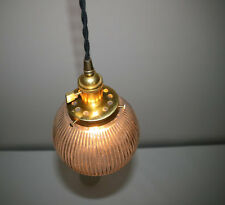 "6"" Ribbed Glass Globe Pendant Light - Hanging Pendant -Vintage Style Cloth Cord"