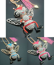 Betsey Johnson Crystal Enamel Cute Queen Bee Pendant Long Necklaces .BJ553