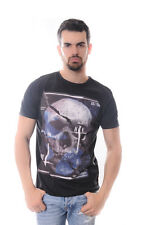Skull Print Designer Mens %100 Cotton Black T-Shirt S to XL size