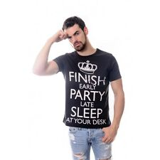 Finish Early Party Mens %100 Cotton Black T-Shirt S to XL size