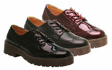 NEW Women's Flat Lace Up Chunky Platform Oxford Brogue School Creepers Shoes