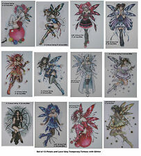 Glittery Fairy Temporary Tattoos with Lace and Flower Petals, Butterflies