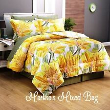 MODERN TROPICAL PALM TREE LEAVES Yellow Orange CAL~King~Queen Size Comforter Set