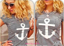 Navy Striped with Printed Anchor Bear women T-shirts short Baw Sleeve t shirts