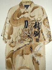NWT ANGRY DRAGON HAWAIIAN SHIRT by YAGO  size XL L or M   gray, beige or blue