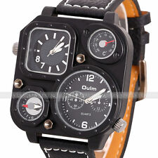 2014 OULM Square Military Army Dual Time Zone Movement Quartz Leather Men Watch