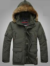 Mens Winner Warm Waterproof Padded Long Coat pockets down Parka Hooded Jacket