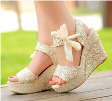 Women High Heel Wedge Platform Sandal Bowknot Ankle Lace Strap Sweet Shoes Beige