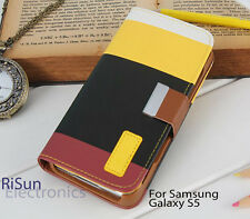 Yellow STAND WALLET PU LEATHER CASE COVER&screen protector FOR Samsung Galaxy S5