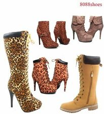 Women's Fashion Lace Up Stylish Tan Leopard Camel Boots Shoes Size 5.5 - 10 NEW