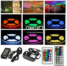 5M 5050 SMD RGB Waterproof Strip Light 300 LEDs 24/44 Key IR Remote 12V 2A Power