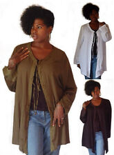 @F869 ANGLED HEM JACKET TIES FRONT CRINKLE RAYON COM JACQUARD MADE TO ORDER
