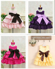 ball gown bowknot sash girl prom dress party pleate satin scoop neckline costume