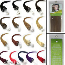 "16""-26""Women Easy Loops Micro Rings Beads Tipped Remy Human Hair Extensions 100S"