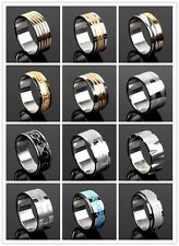 12 Unique Styles Men's Stainless Steel Ring Size 8.5-12 Spin Greek-key Stripes