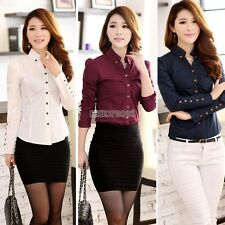New Womens Chiffon Blouse Tops Long Sleeve Button Down Lapel Shirt Casual Blouse