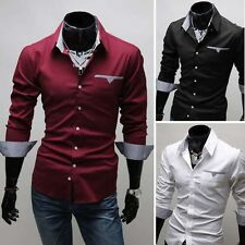 New Stylish Men's Luxury Fashion Slim Fit Long Sleeve Casual Dress Shirts