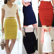 NEW WOMEN LADIES PLAIN PENCIL SLIM STRETCH OFFICE KNEE SKIRT