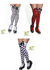 NEW LADIES CHECKERED/DIAMANTE STOCKINGS THIGH HIGH KNEE TIGHTS SEXY FANCY DRESS