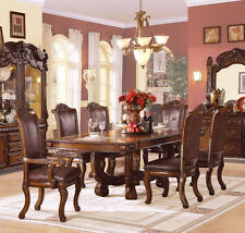 Formal Agate Dining Table 7Pcs Set Dining Room Furniture Set Rich Cherry Finish