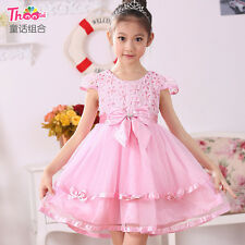 Ball Gown empire waist girl dress Prom party Jewel Puff sleeve Lace Tutu Bowknot