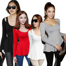 Women Peplum Tops Ruffles Long Sleeve Stretch Tee Scoop Neck T-Shirt Club Blouse