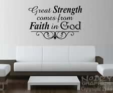 CHRISTIAN WALL ART VINYL STICKER DECAL QUOTE GREAT STRENGTH FAITH IN GOD IRON