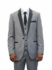 MENS DESIGNER GREY THREE PIECE SUIT WITH DARK GREY LAPEL IDEAL FOR WEDDINGS