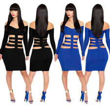 Women Bandage Dress Hollow-out Sexy Party Club Night Wear Bodycon Cocktail Dress