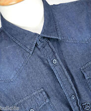 NWT Buffalo Mens Long Sleeve Button Down Dark Denim Shirt 100% Cotton Soft work