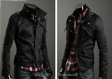 New Fashion Mens Military Slim Fit Collar Jacket Coat Zip Button Hoodies Outwear